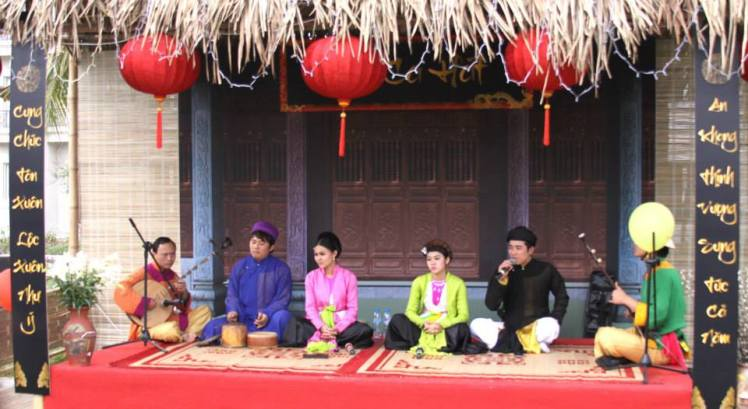 Musical performance during a Vietnamese New Year festival